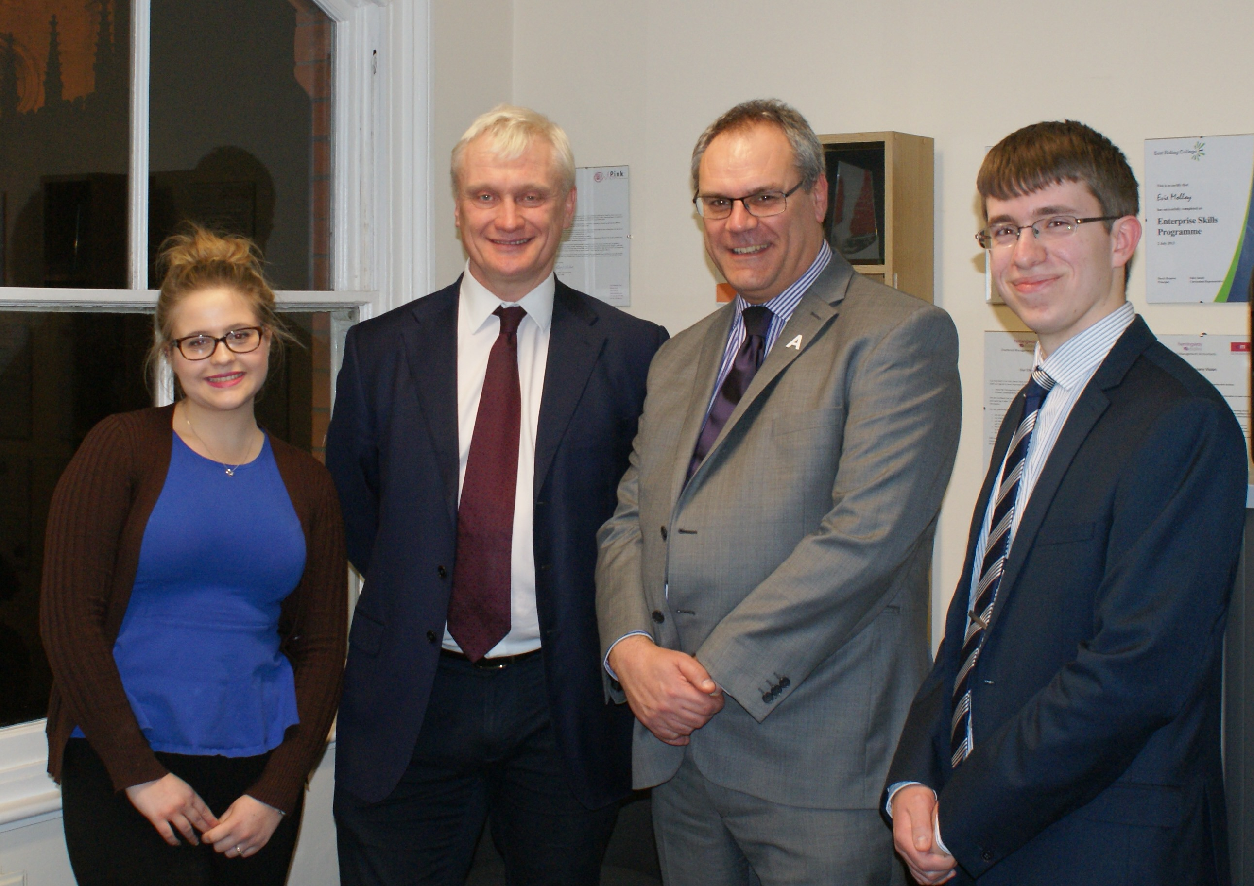Photo, from left, Apprentice Evie Molloy, Graham Stuart MP, Director Alan Hemingway and Marketing Manager Rhys Plater