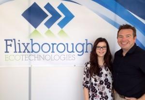 Apprentice Laura Birkett and Giles Barker of Flixborough Eco Technologies
