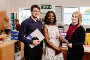 HETA Hull, Kingston Upon Hull, East Yorkshire, United Kingdom, 13 July, 2015. Pictured: LtoR Interns with Rachel Bird
