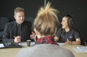 Staff from Arco give mock interview to a  student from Hull FC Community Foundation